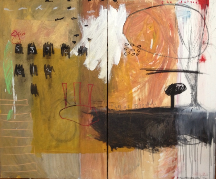 """""""The Instead,"""" 5 x 6 ft., two panels, mixed media"""
