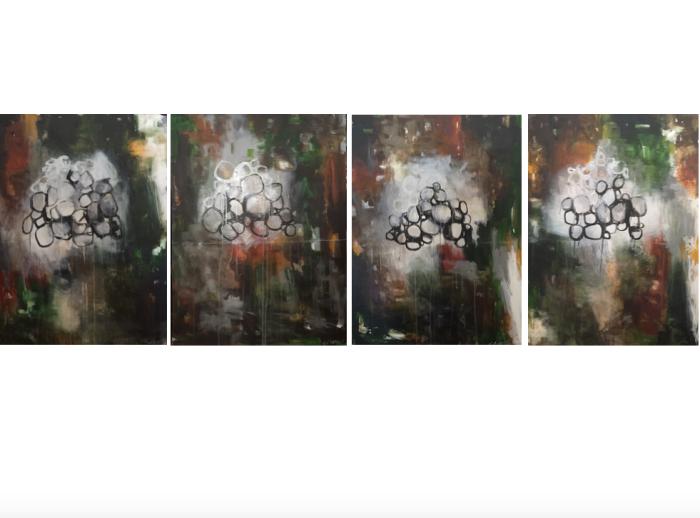 History Paintings (4 panels, each panel is 30 x 40), mixed media