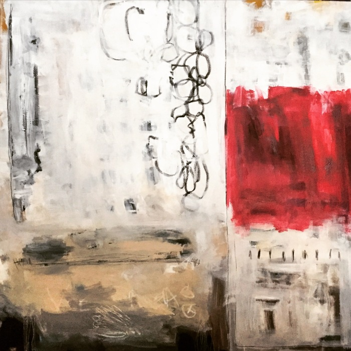 Variation on Red, mixed media, 48 x 48