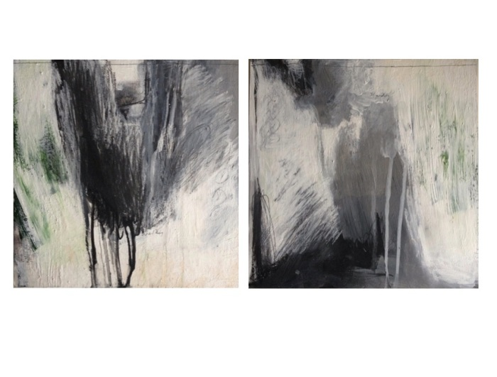 Autobiographical Fragment I and II, mixed media, 10 x 10, 2014